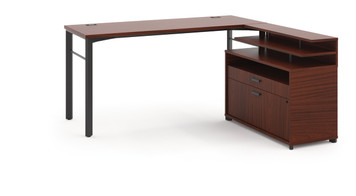 "Hon Manage 60"" Worksurface L-Station in Chestnut"