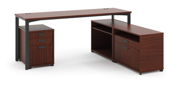 """basyx by Hon Manage 72"""" Worksurface L-station in Chestnut"""