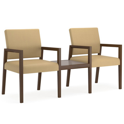 Brooklyn Wood Two Chair Modular With Connecting Center Table ...