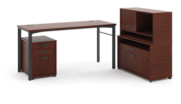 "Hon Manage 76"" Worksurface L-Station in Chestnut"