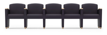 Savoy Upholstered Modular with Five Seats and wood arm accents