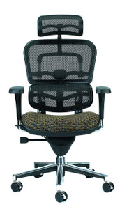 Ergohuman Upholstered Mesh High Back Executive, Circuit Fabric in Domino