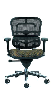 Ergohuman Upholstered Mesh Mid Back Executive, Circuit Fabric in Domino