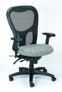 Apollo Multi-Function Upholstered Mesh High Back Task Chair, Raindance Fabric in Sterling