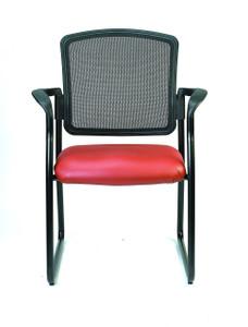 Dakota2 Upholstered Mesh Back Guest Chair, Castillo Vinyl in Red