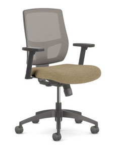 Airus Mid Back Synchro Task in Bangle Cork and Platinum Mesh Back, height adjustable arms