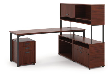 "basyx by Hon Manage 72"" L-Station With Overhead in Chestnut"