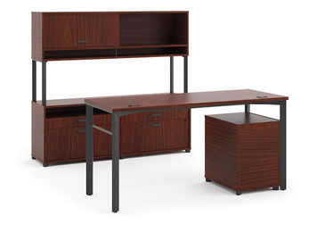 "basyx by Hon Manage 60"" Desk and Credenza Workstation in Chestnut"