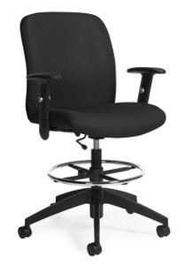 truform medium back heavy duty drafting stool with footring - Heavy Duty Office Chairs