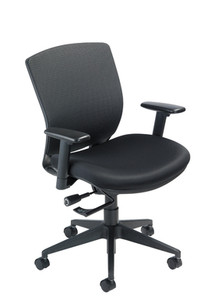 VXO Task Chair, black base and frame in Black Mystic upholstery
