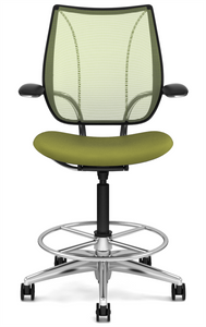 Liberty Drafting Stool with Pinstripe Citron Mesh and Wave Sage