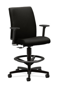 Hon Ignition Upholstered Back Task Stool in Black fabric