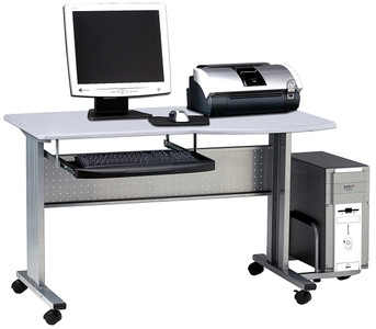 Eastwinds Mobile Computer Worktable with Gray desktop
