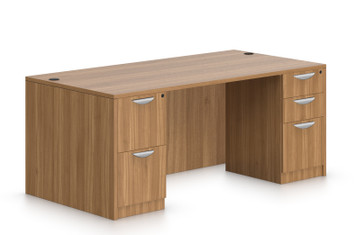 "Offices To Go 60"" x 30"" Double Pedestal Desk in Autumn Walnut"