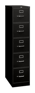 Hon 310 Series Five Drawer Vertical File, letter width in Black (P)