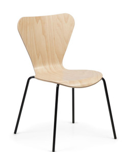Clover Wood Stacking Chair In Maple With Standard Black Frame Finish   Quickship Version
