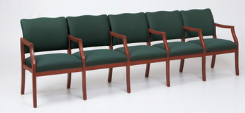 Franklin Wood 5 Seat Sofa with Center Arms