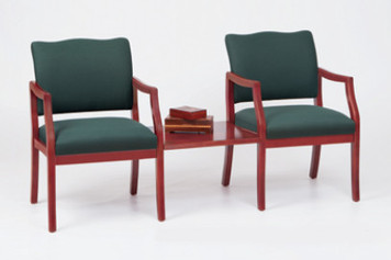 Franklin Wood 2 Chairs with Connecting Center Table