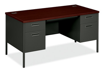 Metro Classic Double Pedestal Desk in Charcoal and Mahogany