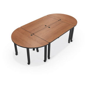 Modular Conference Table with Round Ends in Amber Cherry