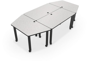 Modular Conference Table with Trapezoid Ends in Gray Nebula