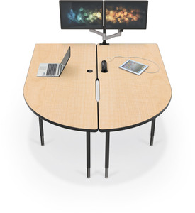 MediaSpace Multimedia Table in Fusion Maple with black legs and edgebanding