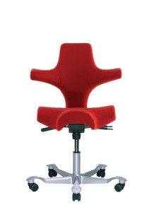 HAG Capisco H8106 Saddle Seat w/ Back in Red Seat Silver Base