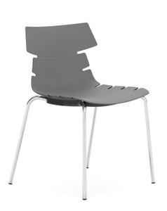 Tikal Shell Chair in London Grey, Four Leg base