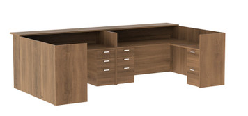 Amber Reception Desk with Wood Transaction Top in Walnut