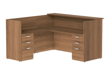 Amber  L-Desk with Wood Transaction Top in Walnut