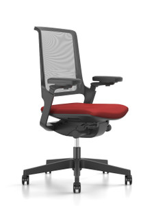 Movy Swivel with 2D armrests and black frame and base