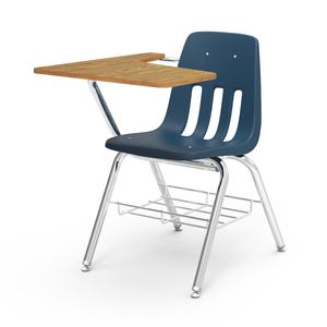"9000 Series Chair Desk, 20"" x  25.5"" x 12"" with medium oak laminate and chrome frame"