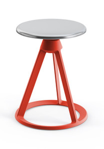 KnollStudio Piton™ Fixed Height Stool with Polished Aluminum seat on a Red Coral base