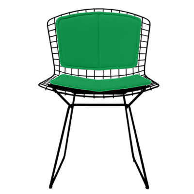High Quality KnollStudio Bertoia Side Chair With Lime Vinyl Back And Seat Pad And Blue  Powder Coat Frame