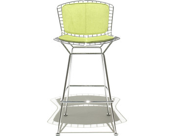 KnollStudio Bertoia Barstool with Back and Seat Pad with Polished Chrome frame and Ultrasuede Kiwi