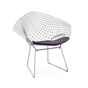 KnollStudio Bertoia Diamond Lounge Chair Quickship with seat pad in Classic Boucle in Black Iris