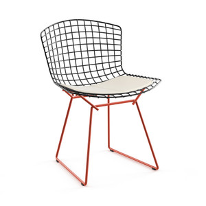 KnollStudio Bertoia Two-Tone Side Chair with black basket, red base and White Vinyl