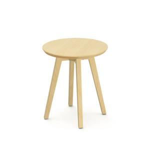 KnollStudio Jens Risom Round Side Table with Clear Maple base and top
