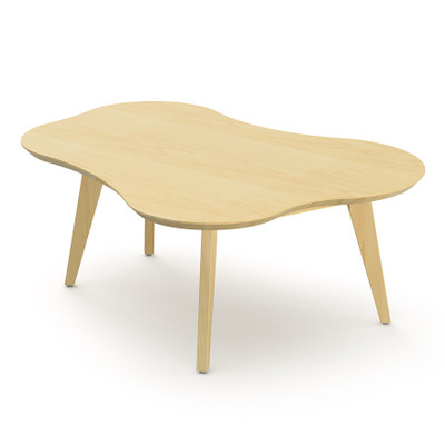 KnollStudio Jens Risom Amoeba Shaped Coffee Table With Clear Maple Top And  Base