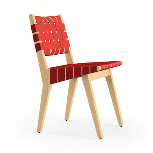 KnollStudio Jens Risom Side Chair with Clear Maple frame and Red Cotton Webbing