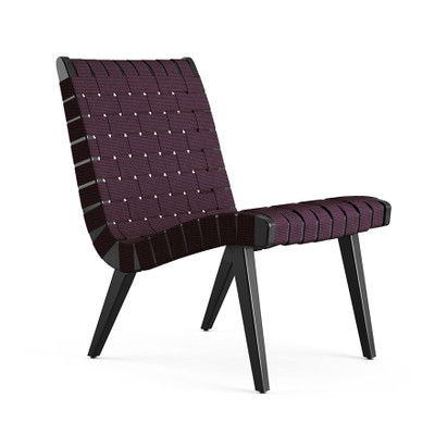KnollStudio Jens Risom Lounge Chair Without Arms, In Ebonized Maple Frame  And Aubergine Webbing