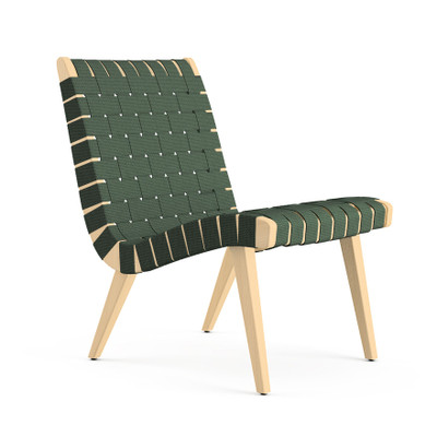 KnollStudio Jens Risom Lounge Chair Without Arms, In Clear Maple Frame And  Forest Green Webbing