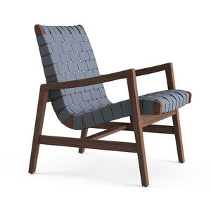 KnollStudio Jens Risom Lounge Chair with arms, in Light Walnut frame and Steel Blue webbing