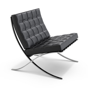 KnollStudio Mies van der Rohe Barcelona Lounge Quickship in Chrome frame and Black Volo Leather