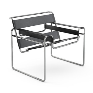KnollStudio Marcel Breuer Wassily Lounge Quickship in Spinneybeck Leather Black