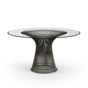 KnollStudio Platner Dining Table with clear glass top and metallic bronze base