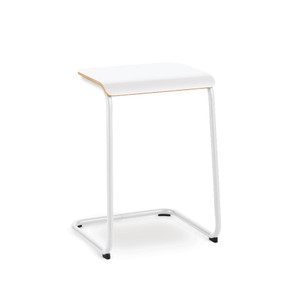 KnollStudio Toboggan Pull Up Table with Bright White frame and laminate top