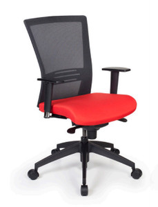 Bravo Mesh High Back Synchro Tilt Task Chair with Cornerblock Red Seat, Black Mesh