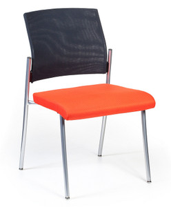 Finesse Mesh Back Upholstered Side Chair with standard black mesh back, and optional chrome frame