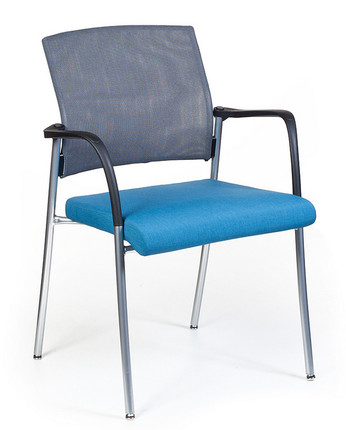 Beau Finesse Mesh Back Upholstered Side Chair With Optional Grey Mesh Back,  Optional Chrome Frame And Arms